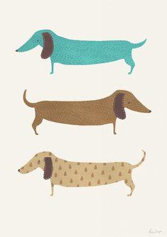 Dachshund art print, dog poster, doxie illustration, nursery wall decoration… #DogDesign