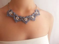 Grey necklace with pearls / Grey evening necklace / от DIDIcrochet