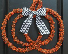 Pumpkin Wreath - Halloween Wreath - Jack O Lantern Wreath - Choose Bow - Ready To Ship
