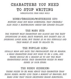 to Write a Book And Get it Published: A Beginner's Guide Infographic: 4 character stereotypes you need to banish from your writing.Infographic: 4 character stereotypes you need to banish from your writing. Creative Writing Tips, Book Writing Tips, Writing Resources, Writing Help, Writing Prompts, Writing Ideas, Story Prompts, Start Writing, Writing Characters