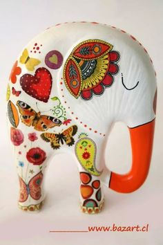 Elephant Parade, Elephant Love, Elephant Art, All About Elephants, Decoupage, Elephant Silhouette, Paper Mache Crafts, Tole Painting, Biscuit