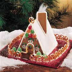 Gingerbread Chalet Recipe -The A-frame design on this pretty country chalet is easy enough for even first-timers to make. So gather the kids or grandkids and have a blast creating this fun holiday project. —Peggy Anderson, Haughton, Louisiana
