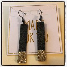 Pebble Faux Leather Earrings black with gold