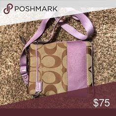 Purple and Brown Coach cross body Good condition used when ride the bike. Not really any signs or wear and tear $75.00 or best offer!! Coach Bags Crossbody Bags