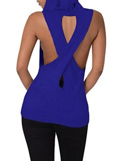 Happy Sailed Women Hooded Sleeveless Cross Back Pocket Tunic Tank Top(pack of 1) * You can get more details at http://www.amazon.com/gp/product/B01EVE1RH0/?tag=wwwmytravel-20?no=080816173424