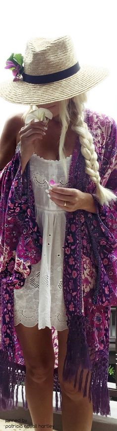 Boho chic embroidery detailed white top blouse with hippie braid and gypsy style purple kimono. For MORE Bohemian Hippie Fashion FOLLOW https://www.pinterest.com/happygolicky/the-best-boho-chic-fashion-bohemian-jewelry-gypsy-/ now!