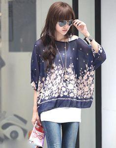 Blue and White Chiffon ♥ http://www.koreastylelove.com/blue-white-spring-2015-trend-korean-spring-fashion/
