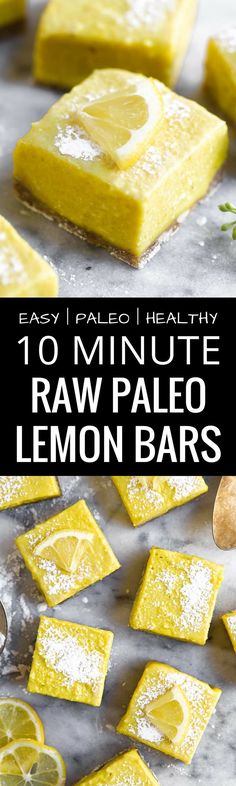 Easy Raw Paleo Lemon Bars | Best gluten free vegan lemon bars | Best paleo dessert recipes | Best vegan dessert recipes | Vegan lemon bars recipe | Easy vegan raw lemon bars | Paleo lemon bars | Gluten free and vegan lemon bars | The Movement Menu || #paleodessert #paleorecipe #veganrecipes via @themovementmenu