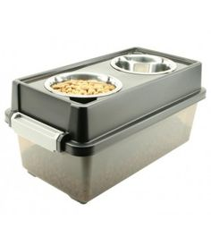 IRIS Dog Food Storage Container & Feeder / Food Stand, FS-M. Great for storing food. Also can be used as storage for toys, treats, and accessories (leashes, collars, and etc...) for dog when you travel with your pet!