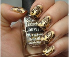 Nail 2 Express: Gold with black manicure