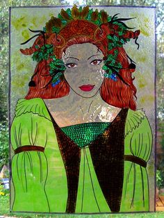 WICOART STICKER WINDOW COLOR CLING FAUX STAINED GLASS LADY OF THE FOREST FÉE FAE