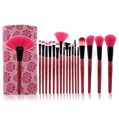 MAKE-UP FOR YOU 18-in-1 Professional Cosmetic Makeup Brush with Free Leather Case - Rose Red US$22.99