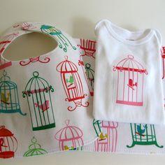 Baby Girl Gift Set  Bib Burp Cloth & Bodysuit  by CorinneCitrolo, $32.00