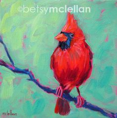Cardinal Original Painting by betsymclellanstudio, $35.00