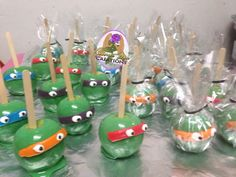 Ninja turtle candy apples follow us on Instagram for more @concrete_rosecreations