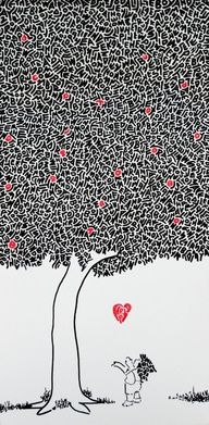"""This piece pays tribute to Shel Silverstein's famous book """"The Giving Tree""""     Look closely, the image is composed entirely of the text from the book."""
