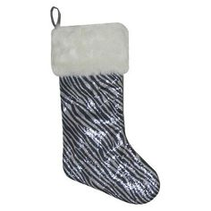 20 Sequin Stocking w Animal Print Zebra ** Read more  at the image link.
