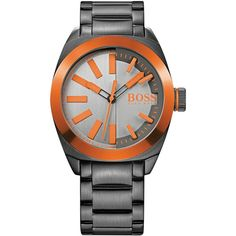 Hugo Boss Men's Boss Orange London Gray Ion-Plated Stainless Steel... ($157) ❤ liked on Polyvore featuring men's fashion, men's jewelry, men's watches and no color