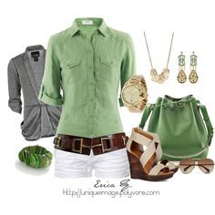 Color: medium green, gray, white, caramel. Proportion: looser simple shorts, structured pocket button down with half sleeves, drapey cardi. I like the camp shirt style and fabric, the wide brown low-slung belt and whit shorts.
