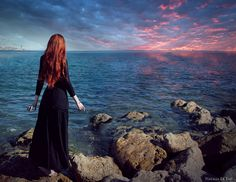 Ariel, looking back at her home: High quality print  Wide Ocean  photoshoot by NataliaLeFayArt