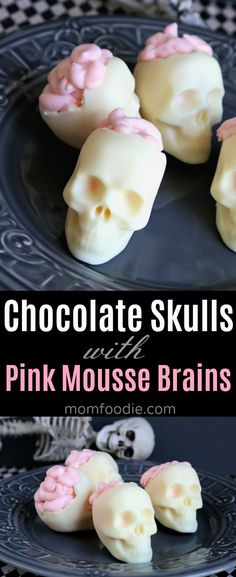 Chocolate Skulls with Brains Halloween Dessert - hollow white chocolate skulls (made with molds) filled with pink cheesecake mousse brains. #Halloween #halloweenparty #skull #chocolate #mousse