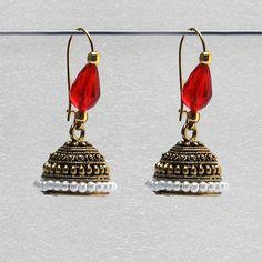 3b43a395f1 S shape print black beads black metal jhumka earrings in 2019 | Indian  Jhumki and Earring Ideas | Earrings, Beads, College wear