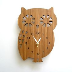 Wooden owl wall clock