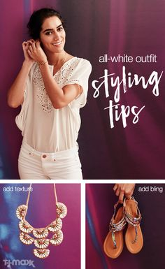 How to wear an all-white outfit? Play with different textures and fabric weights — like a lacy top, distressed denim and heavy jewelry. Add in embellished sandals, and finish off the look with a statement necklace.