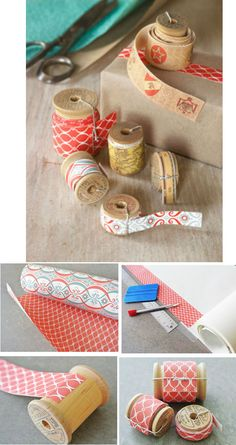 I love this awesome idea of turning old gift wrap into patterned tape using double- sided adhesive. It's like a make-your-own washi paper tape.