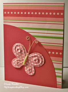 handmade card Sophia Card #26 by Wendy Kessler ... Wendy is a scrapbooker and this is what she does with scarps,  ... I wouldn't call them scraps ... They are beautiful and make a great card with coordinating colors. ... simple design with polka dot die cut butterfly on a quarter arc of solid color ... striped base paper ... lovely deep corals with touches of olive and white ... Close to My Heart ...