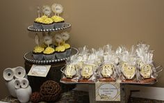 """Photo 1 of 21: Owl Theme (Yellow and Gray) / Baby Shower/Sip & See """"Look Whooo's Expecting! """" 