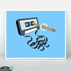 Retro Music Art Print featuring a pencil winding a cassette tape. Perfect for 80s and 90s kids.