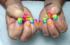 My customer told me she wants bright and colorful, so I came up with this designs. I used the sponge technic. Love it! @ Passion For Nails