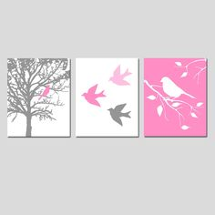 Modern Bird Trio - Set of Three 8x10 Prints - Kids Wall Art for Nursery - Choose Your Colors - Shown in Pink, Gray, Yellow, and More. $55.00, via Etsy.