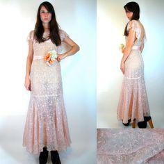 $128 20s Mermaid fishtail Hem Gatsby LAWN DRESS Antique Vintage Edwardian flapper Drop waist maxi dress Bias cut wedding floral High fashion XS