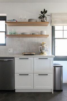 Modern Spanish Kitchen in White Shaker Oak Floating Shelves, Spanish Kitchen, Kitchen Cabinets, Interior Design, Modern, Home Decor, Nest Design, Spanish Cuisine, Trendy Tree