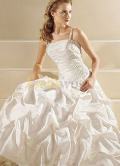 [US$222.99] White Beaded Satin Ball Gown Wedding Dress