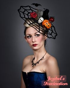 This is Halloween - Spider Web Fascinator Crow Raven Skull Bat Red Rose Apple Razor Blade Jack-O-Lantern Headdress Pumpkin Headpiece Gothic Cocktail Hat Headdress - pinned by pin4etsy.com