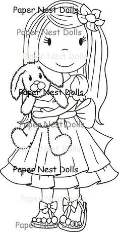 "The Paper Nest Dolls ""Some Bunny Loves You"" Rubber Stamp *NEW*"