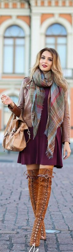 Fashion trends | Plum dress, lace up boots, plaid scarf and brown leather jacket | Latest fashion trends