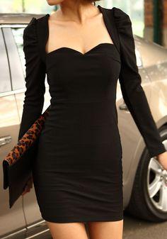 Sweetheart Bodycon Dress - Black @LookBookStore