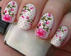 Películas Casadinha 1093.Flores Rose Nails, Flower Nails, My Nails, Cute Spring Nails, Special Nails, Floral Nail Art, Birthday Nails, Stylish Nails, Beauty Nails