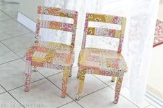 ModPodge & fabric scraps to re-do chairs.  CUTE!  Make one for guest room.