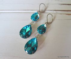 Aquamarine Rhinestone Earring, Blue Earring, Sapphire Earring, Blue Rhinestone Earring