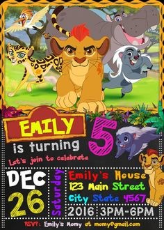 Lion Guard Birthday Invitation, Lion Guard Invitation, Lion Guard Invite, Lion Guard Party Invite, L Lion Party, Jungle Party, Birthday Flyer, Kids Birthday Cards, Little Girl Birthday, Baby First Birthday, Lion King Theme, Lion King Birthday, Lion King Simba
