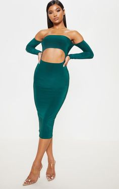 709f4ca56d5 Jade Green Slinky Cut Out Bardot Long Sleeve Midi Dress