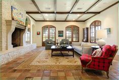 Terracotta Tiles Interior Design 22 Mediterranean Living Room with Carpet & Stone Fireplace In Roanoke Tx Zillow Digs 5 Mexican Living Rooms, Mediterranean Living Rooms, Mexican Style Decor, Wooden Beams Ceiling, Patterned Furniture, Living Room Carpet, Small Rooms, Bars For Home, Terracotta