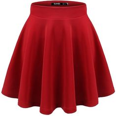 Thanth Womens Versatile Stretchy Pleated Flare Skater Skirt ($13) ❤ liked on Polyvore featuring skirts, skater skirts, knee length pleated skirt, stretch skirts, red pleated skirt and red circle skirt
