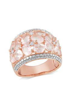Rose Quartz & Diamond Ring