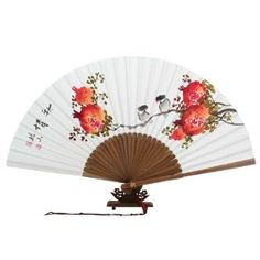 Hand Painted Folding Red Pomegranate and Bird Painting White Paper Bamboo Wooden Asian Oriental Wall Deco Korean Handheld Decorative Fan $24.95